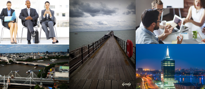 Collage of candidates and London, Southend and Lagos city views